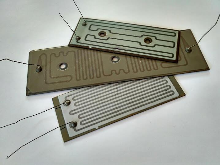 Плоские электрические нагревательные элементы, изготовленные  по толстоплёночной технологией